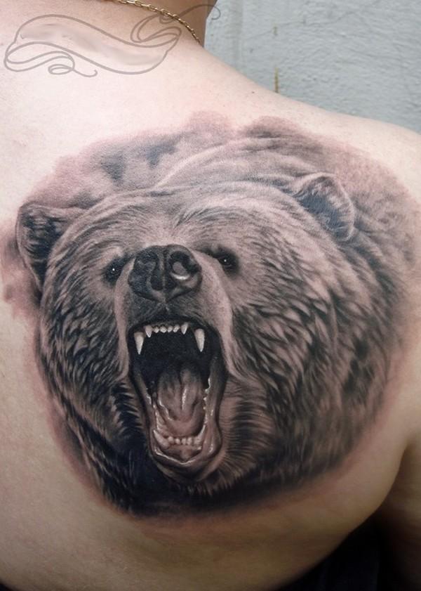 ลายสักหมีขาวดำ