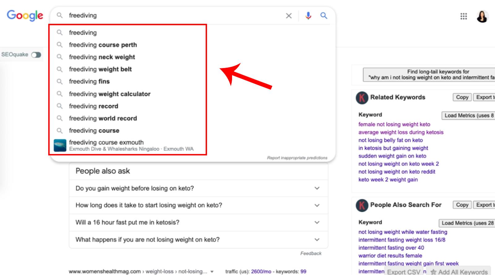 google auto fill from main keyword