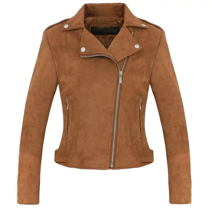Women's brown suede biker jacket