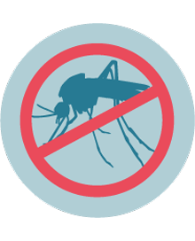 illustration of a mosquito that has been crossed out with a red mark
