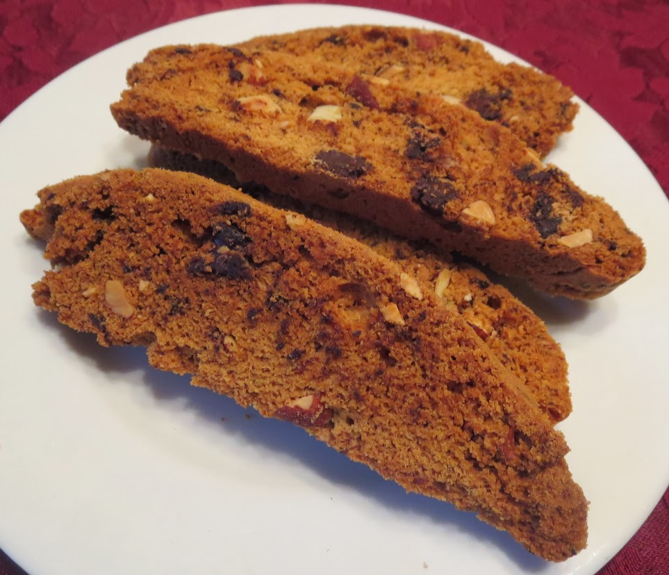 Almond and Dark Chocolate Biscotti are a variation on the traditional biscotti made with pistachio and dried fruit.