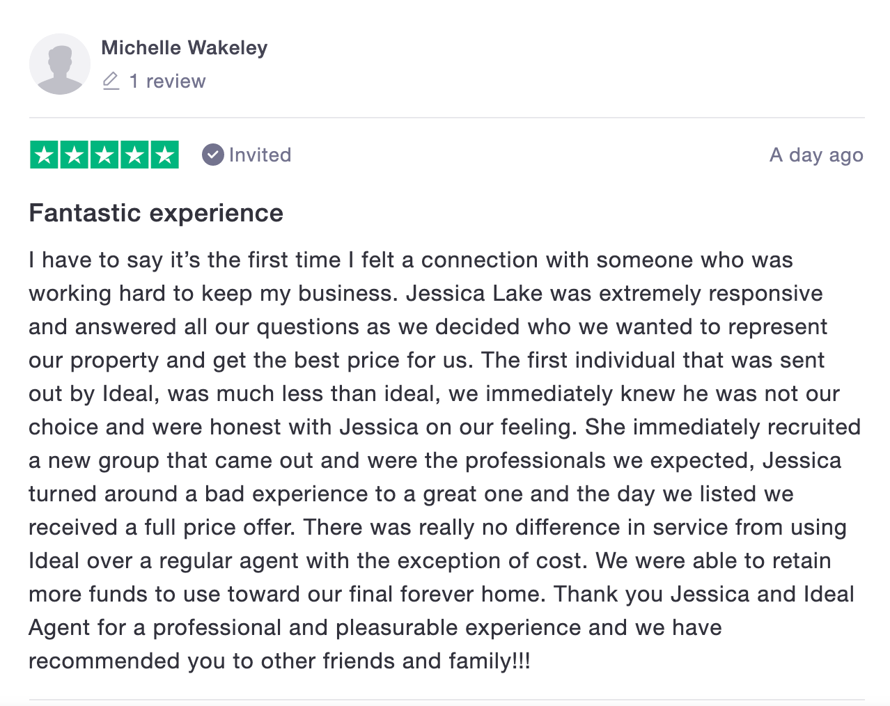 ideal agent positive review