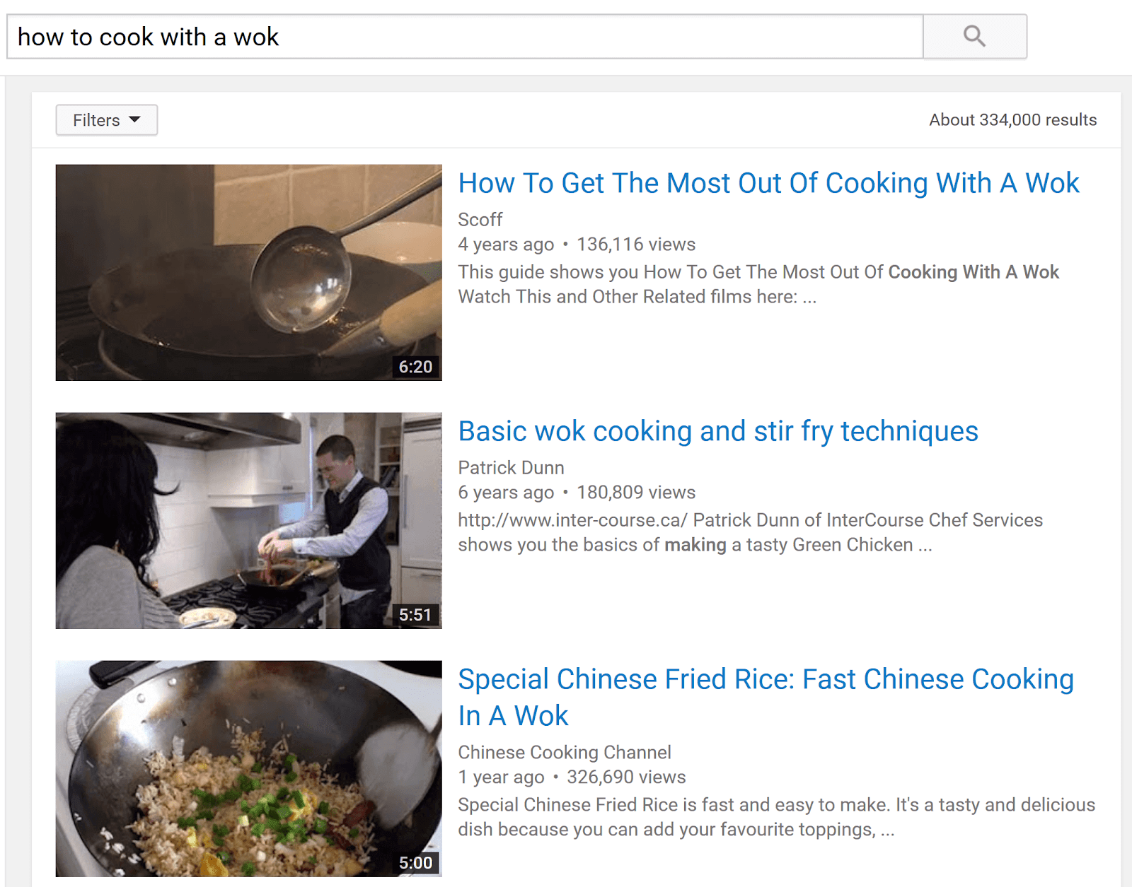 youtube search results example