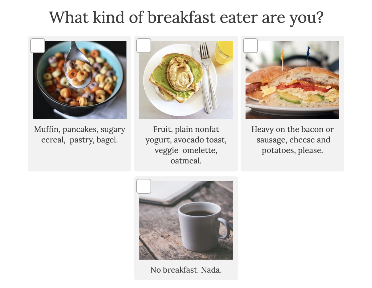what kind of breakfast eater are you with pictures of breakfast foods