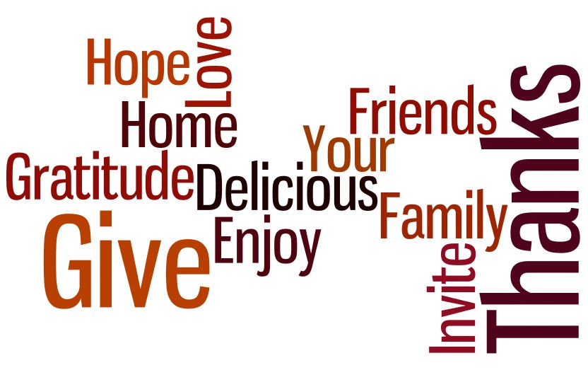Thanksgiving word graphic