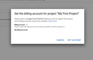 Setting up billing account