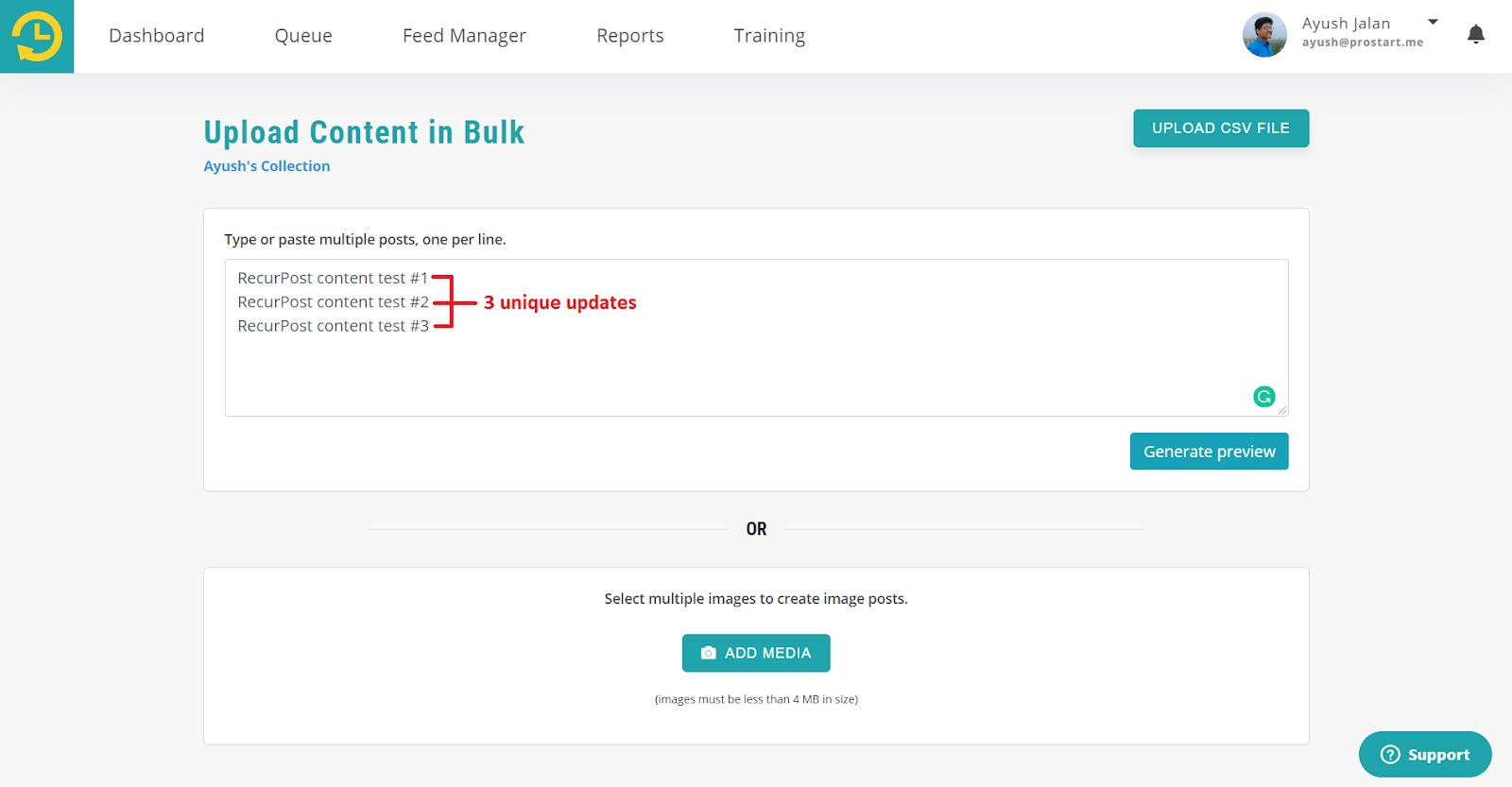 For Text/Link Posts for bulk update - recurpost - social media scheduler