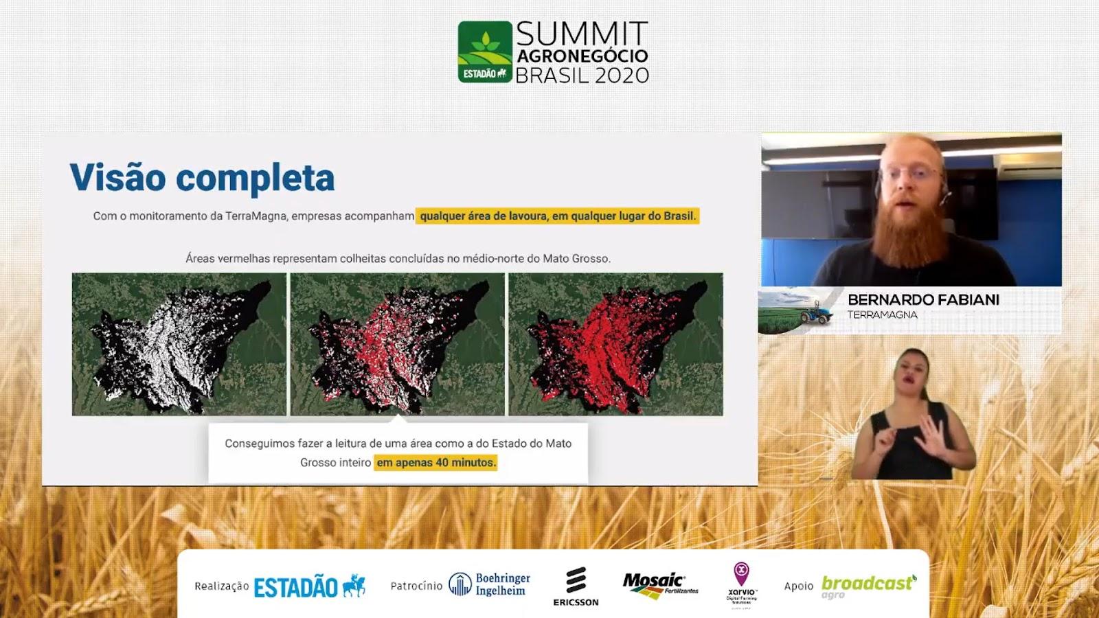 Satélite permite mapear estágio das lavouras agrícolas do Mato Grosso em apenas 40 minutos. (Fonte: Summit Agro 2020/Reprodução)