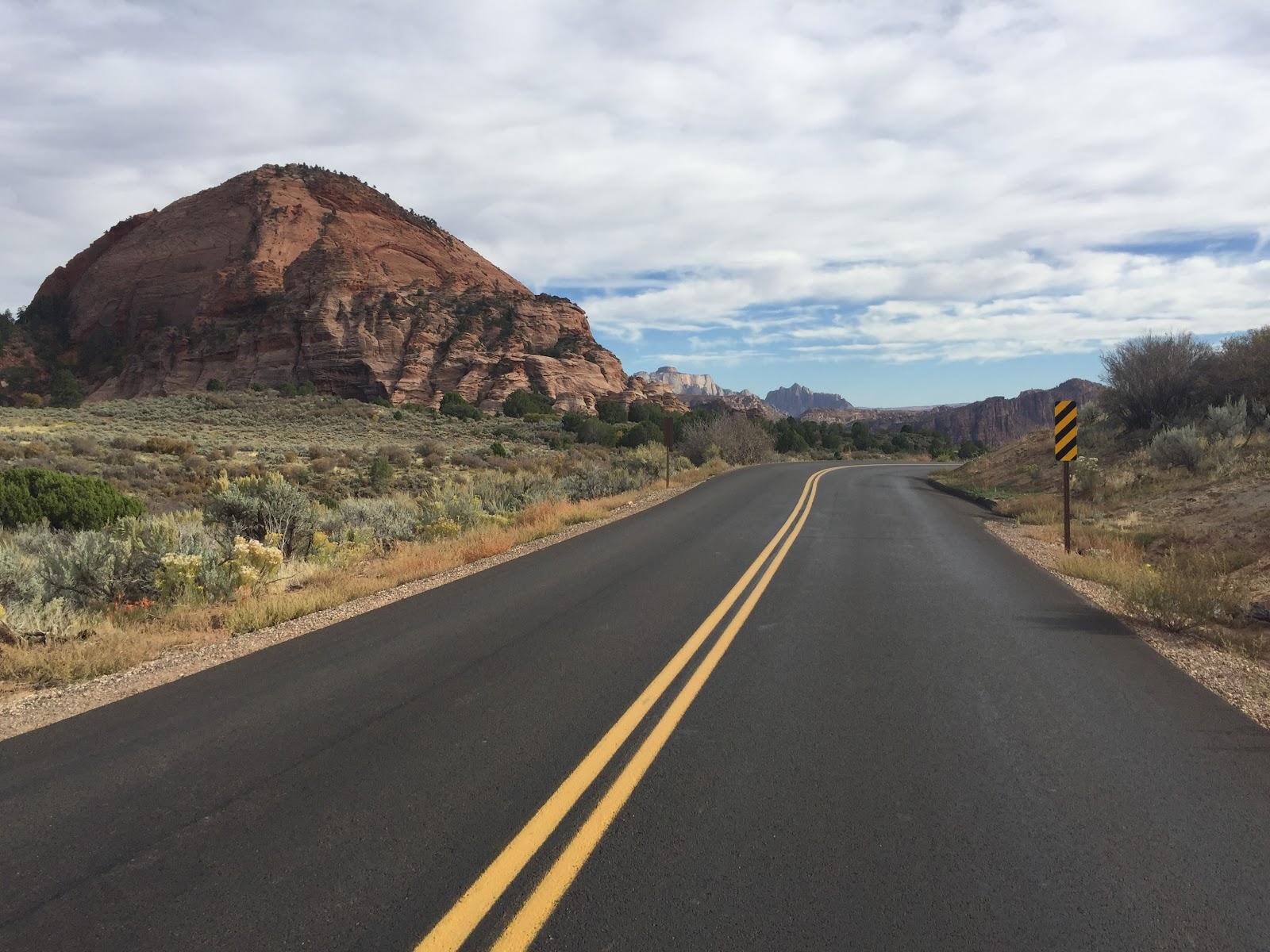 Riding Kolob Terrace by bike - Tabernacle Dome and roadway