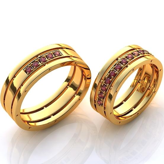 Обручальные кольца с маленькими рубинами