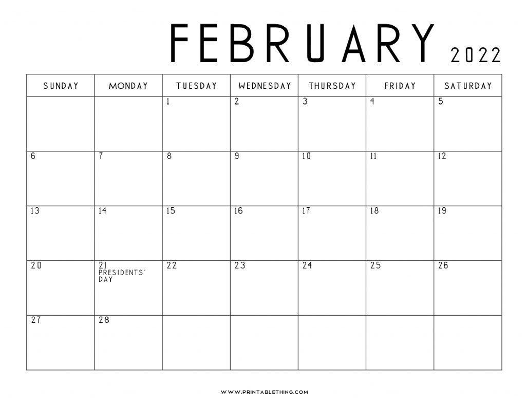 February 2022 Calendar