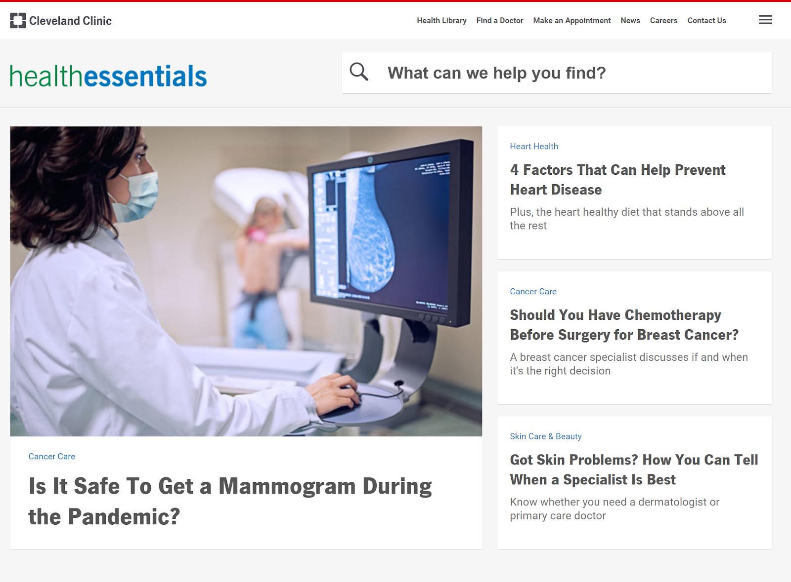 blog Health Essentials da Cleveland Clinic