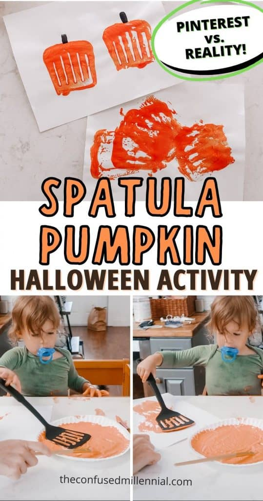 Looking for an easy, fast set up, easy clean up halloween activity for your toddler or preschool aged kid? Check out this adorable Halloween Pumpkin craft using a spatula! It's a fun twist using everyday household items you probably already have!