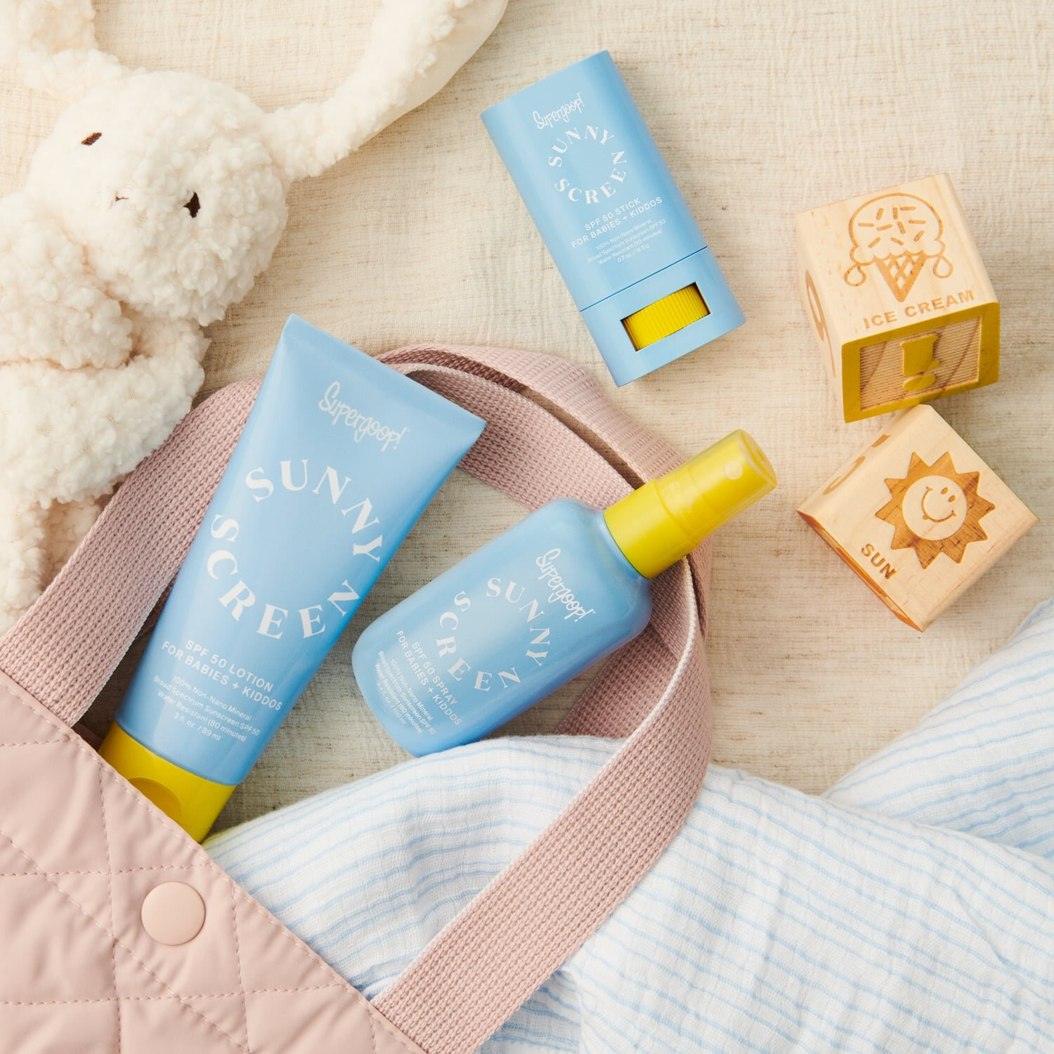 "Last but certainly not least, product for the ""bebe's"". I linked the adult version up top, but worth noting Super Goop makes one for little people too. This product checks all the boxes. Pediatrician tested, fragrance and silicone free, and hypo allergenic. Can you Sunscreen do that?"