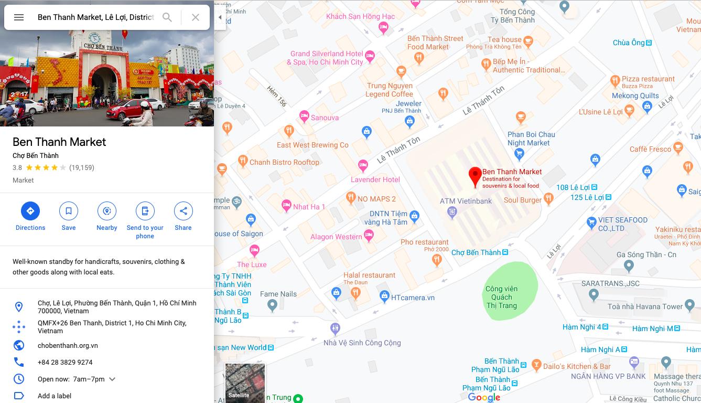 Ben Thanh Market map.
