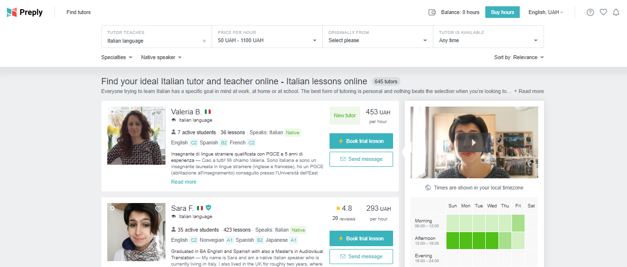 Online Learning Marketplace - preply