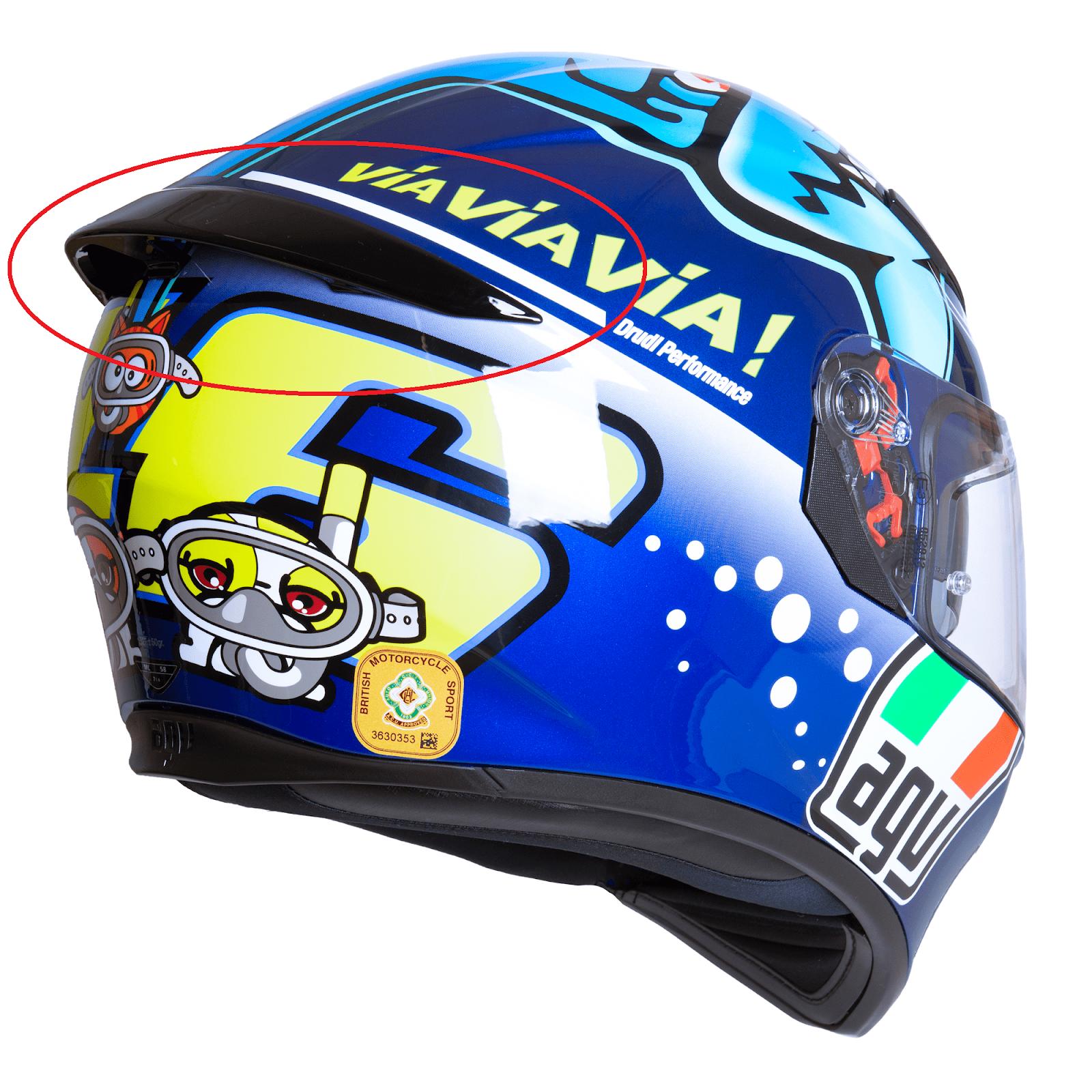 Agv K 3 Sv K3 Sv Rear Spoiler For Agv K3 Sv Full Face Helmet Black Blue White Ebay