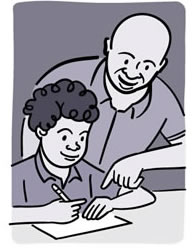 Illustration of a man helping his son with schoolwork.