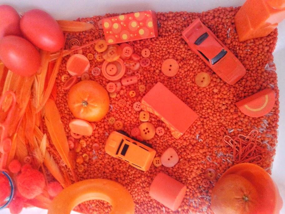 Welcome to Mommyhood: Orange sensory bin