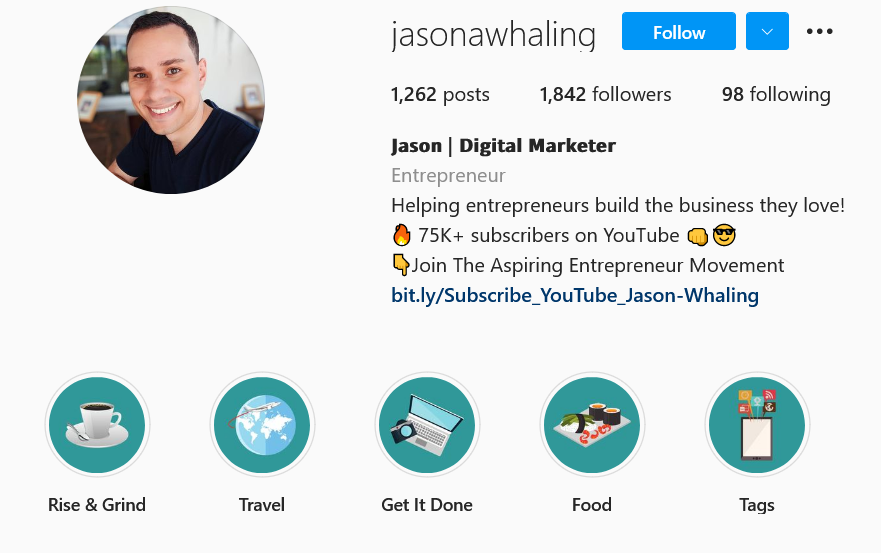 Jason Whaling Instagram account bio