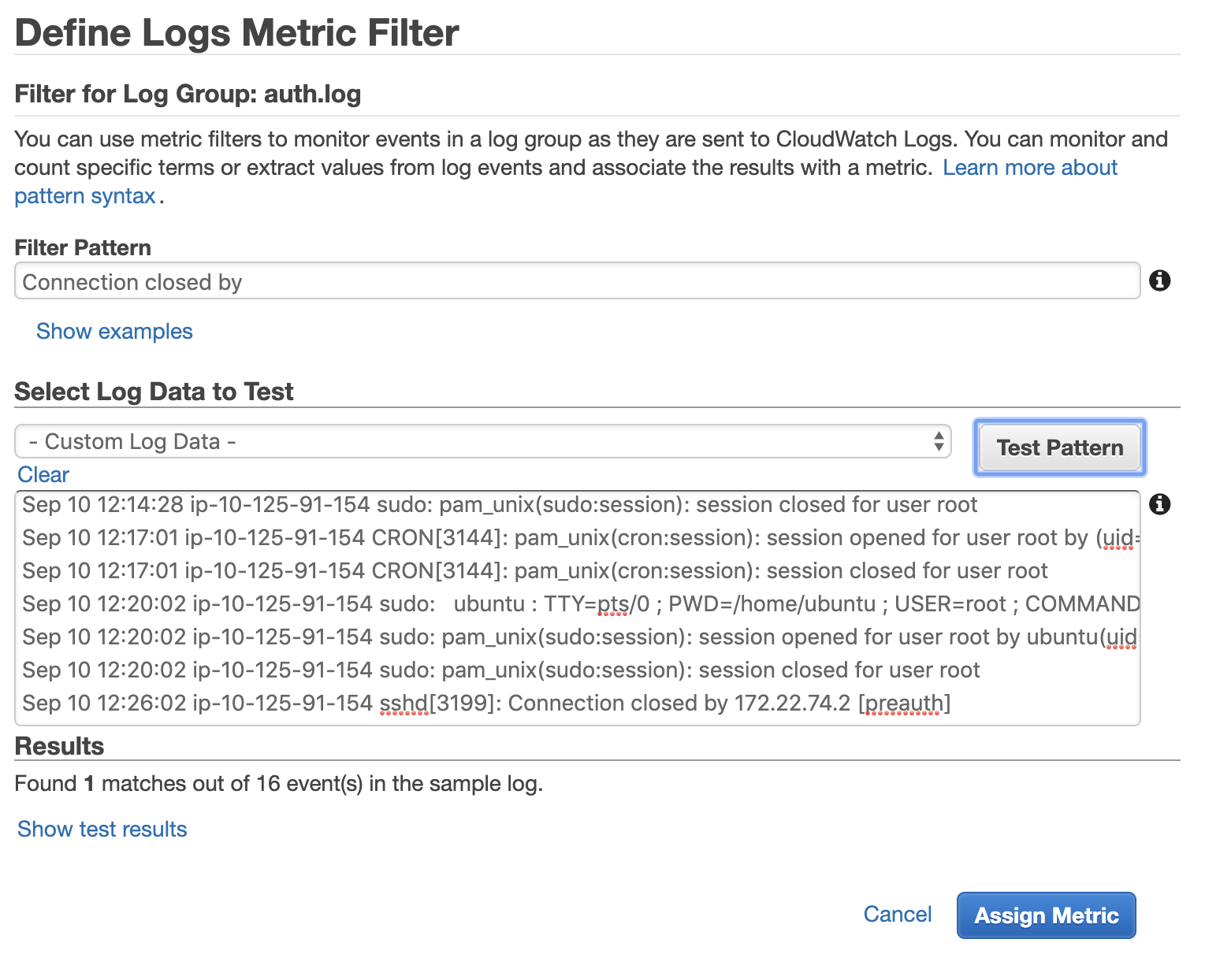 "Define the pattern for the filter and select ""Assign Metric"" in Amazon CloudWatch"