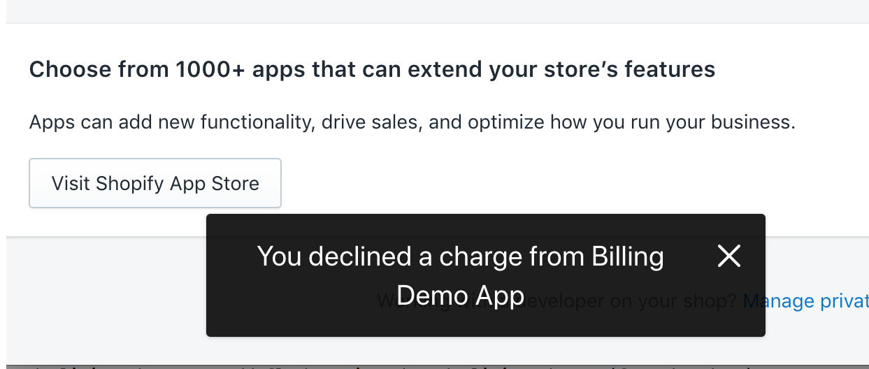 Example notification for declined app charge