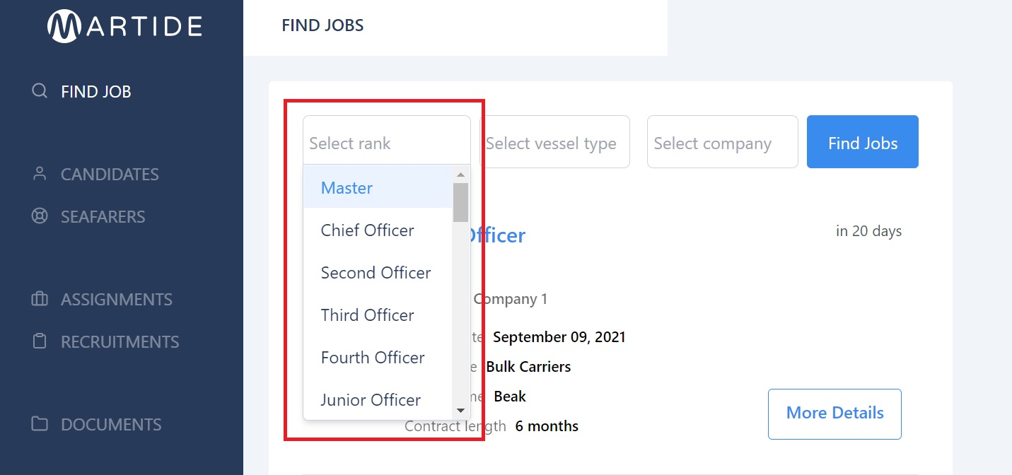 screenshot showing the drop down menu in the select rank box