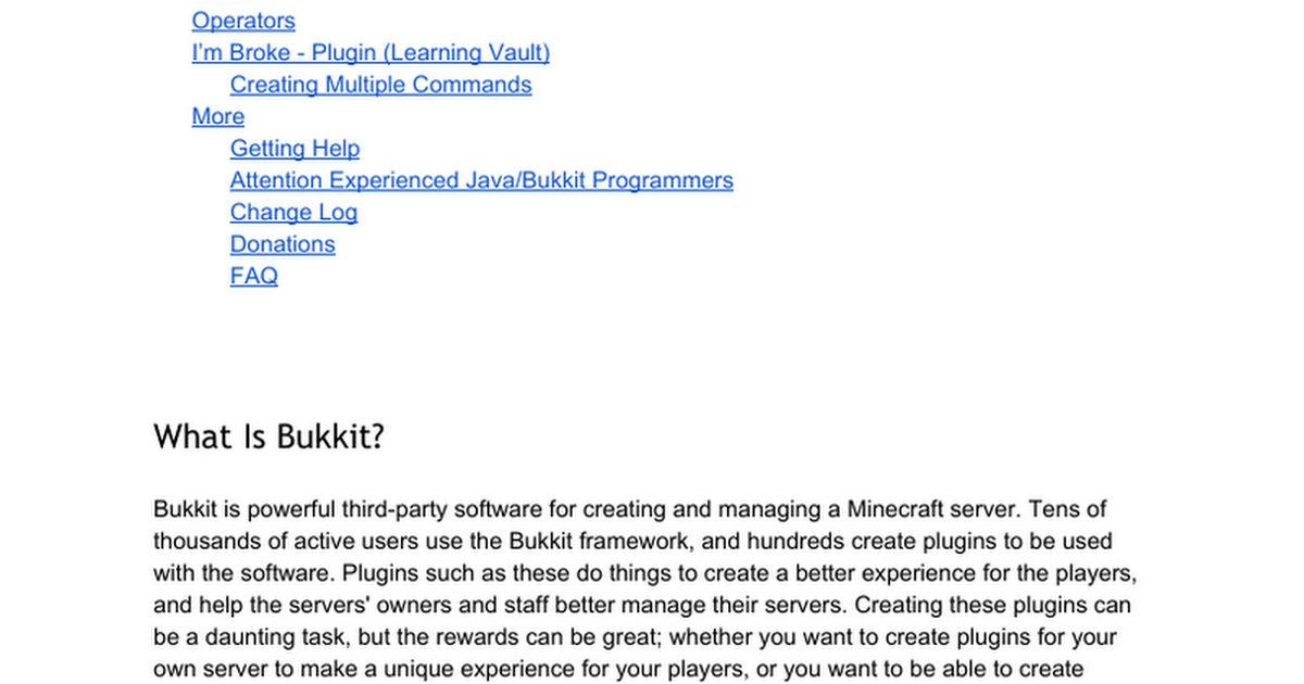 bukkit coding for dummies google docs