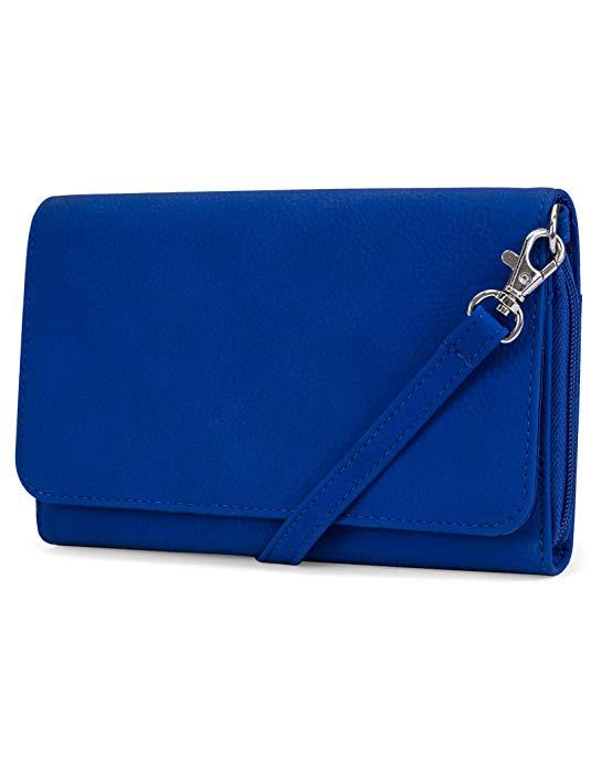 Mundi RFID Crossbody Bag For Women Anti Theft Travel Purse Handbag Wallet Vegan Leather (Azul)