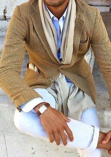 man in a tan blazer