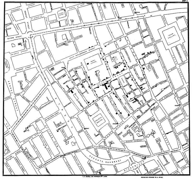 A reference map of a London neighborhood containing data about the location of water sources and points representing documented cases of cholera. Today Geo AI and medicine are taking Dr. Snow's work to a new level.