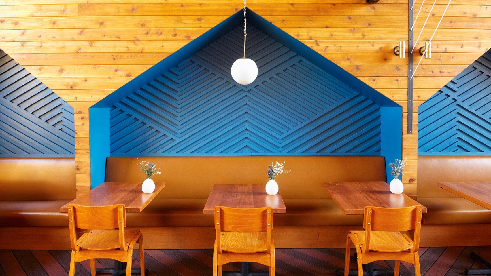 Blue woodwork on the walls of a San Diego restaurant.