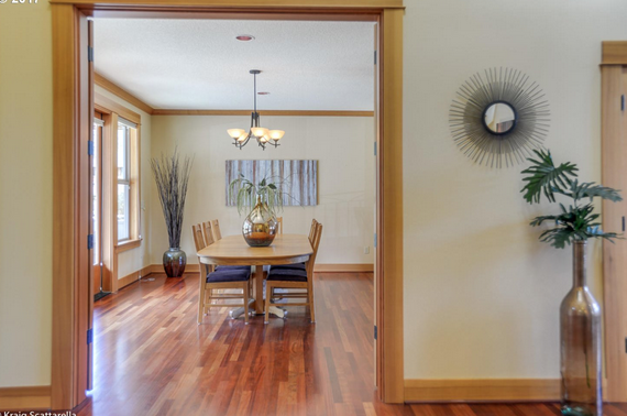Dining room view of home listing