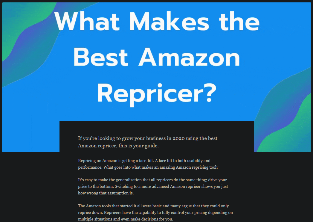 Article following up on Amazon repricer softare.