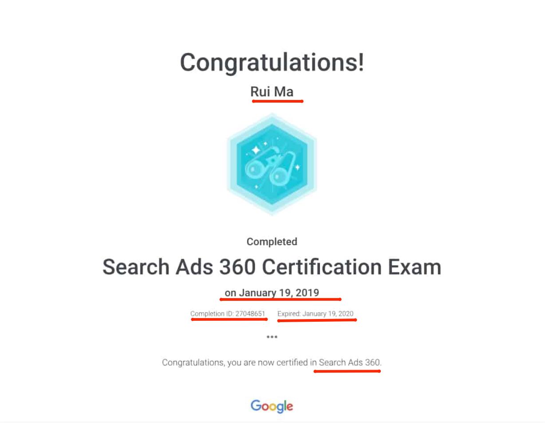 Google certificate template