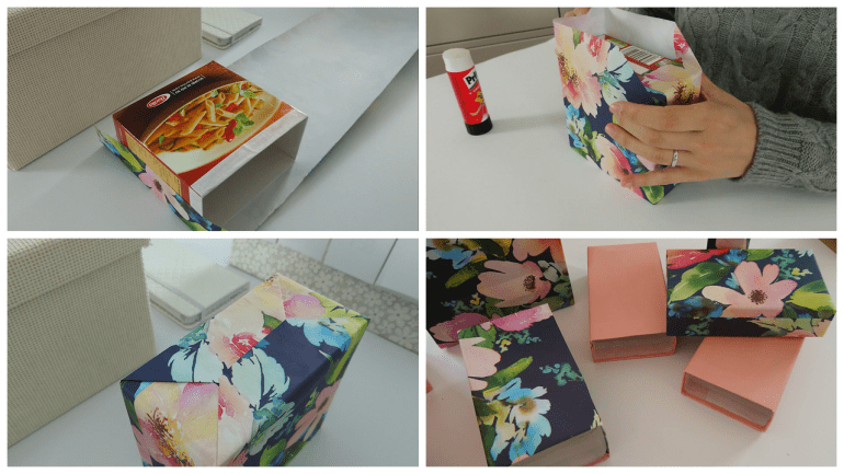 Upcycle old pasta boxes with decorative paper