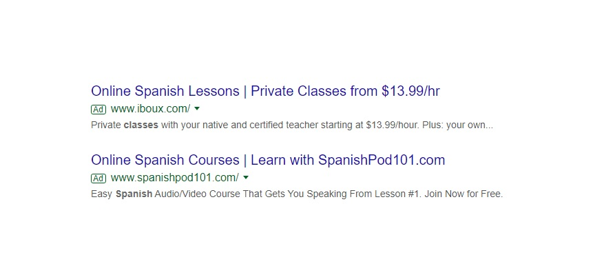 Spanish lessons capitalised with ad optmised to increase ctr