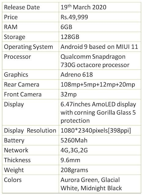 Xiaomi mi note 10 specifications and review   reviewsbyvivek