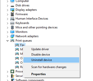 """Press Windows + R keys and type """"devmgmt.msc,"""" and press enter. Go to """"Print queues,"""" right-click on your printer model, and click """"Uninstall device."""""""
