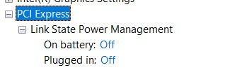 Expanded PCI Express options in the Advanced Power Settings window