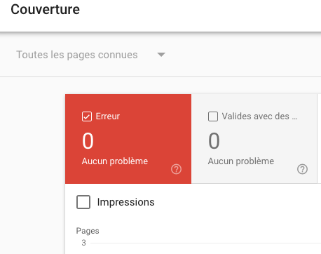 Screenshot couverture search console