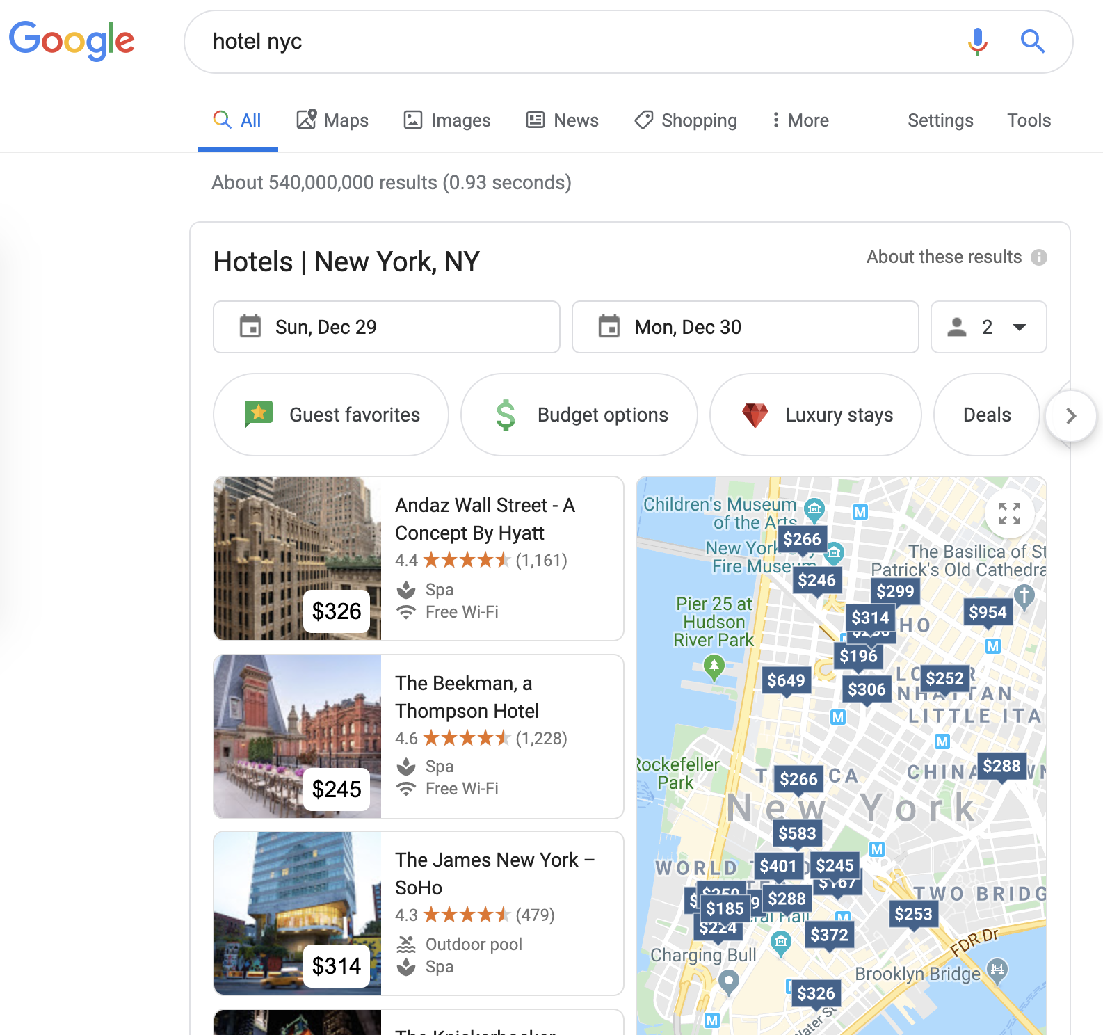 """Google Hotels integration showing up on the top of searches that include """"hotel"""""""
