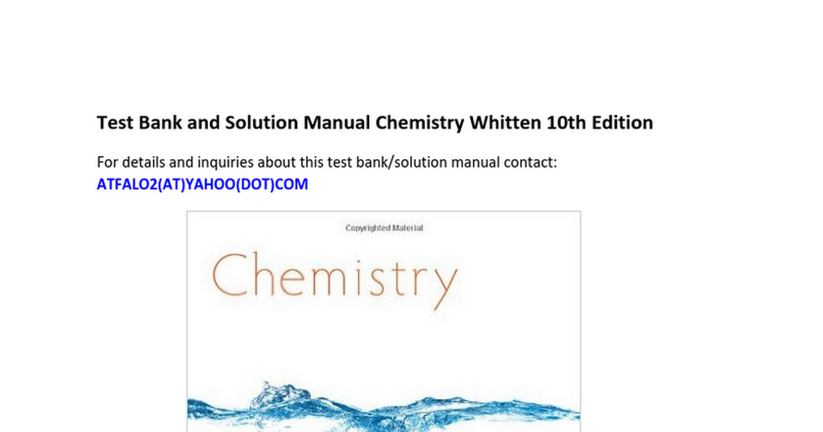 Test Bank Solution Manual Chemistry Whitten 10th Tenth Edition ...