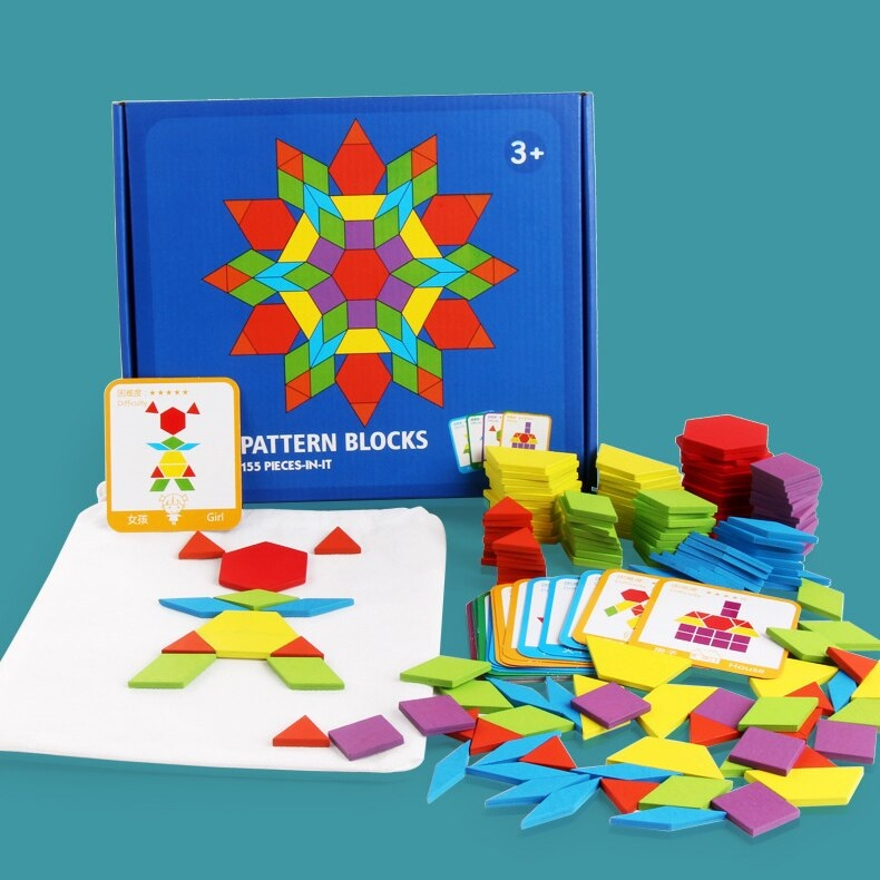 155Pcs DIY Wooden Pattern Blocks Puzzle Box Montessori Learning Toys Dissection