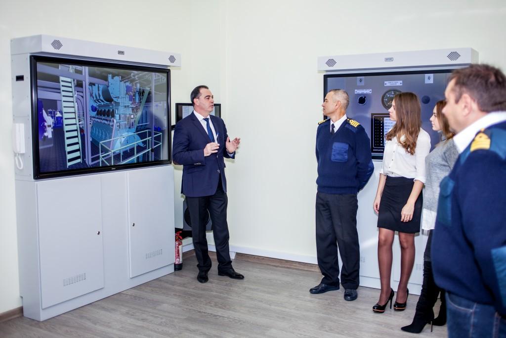 man conducting maritime industry training using a simulator