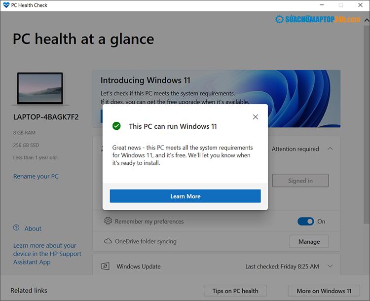Máy tính đủ điều kiện cài đặt Windows 11