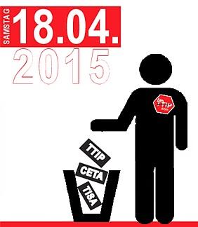 Grafik aus Flyer: Mensch mit No TTIP-Button wirft TTIP, CETA, TISA in Abfallbehälter. »Samstag, 18.04.2015«