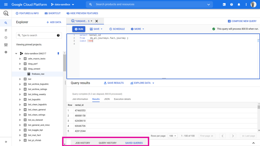 BigQuery new UI features