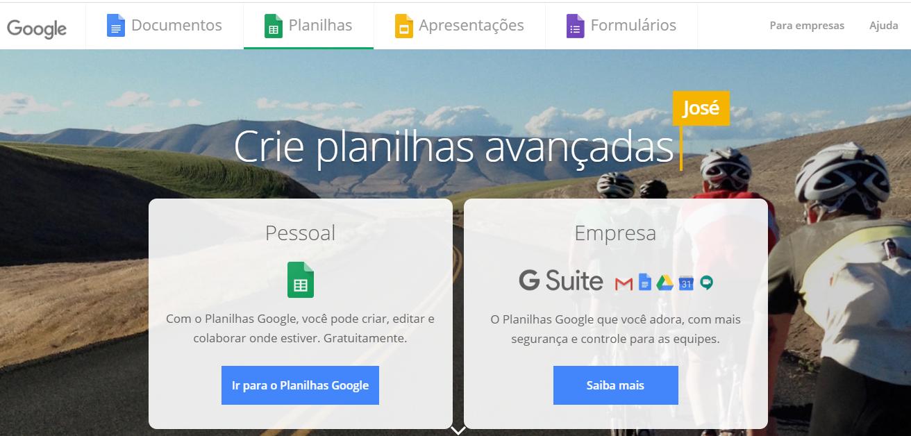 Página inicial do Google planilhas