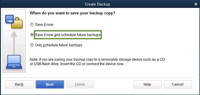 Schedule future backup